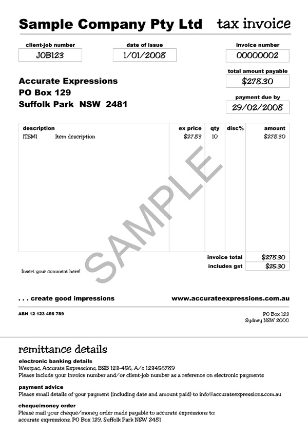 Sample MYOB Invoice :: Accurate Expressions