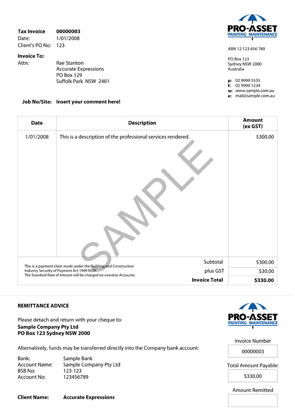 Pro-Asset Painting Custom MYOB Invoice
