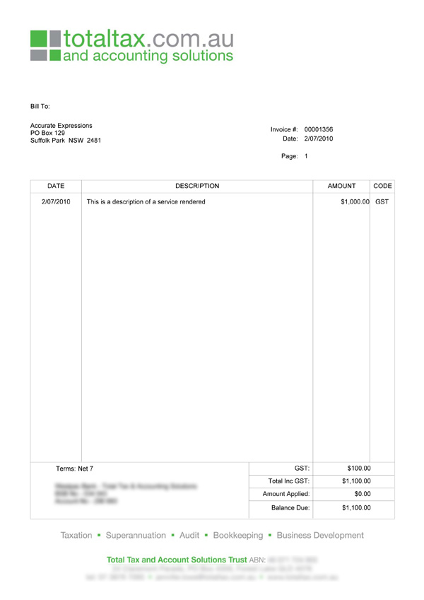 Total Tax Custom MYOB Invoice
