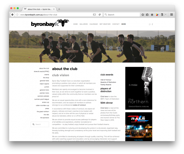 byronbayfc.com.au - web design by accurate expressions