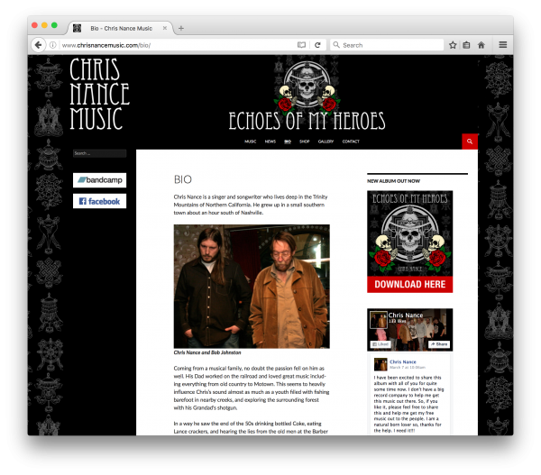 chrisnancemusic.com - web design by accurate expressions