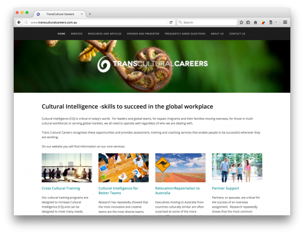 transculturalcareers.com.au - web design by accurate expressions